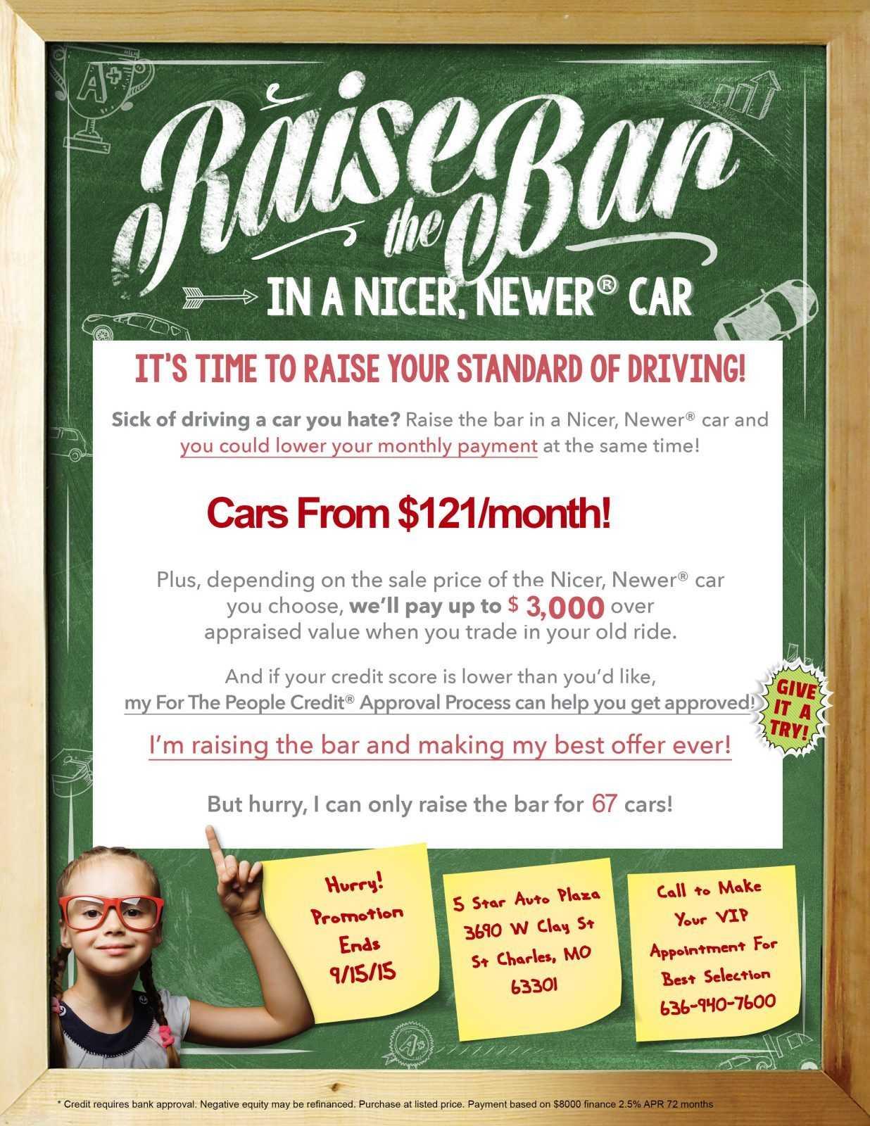 Raise the Bar At 5 Star Auto Plaza!