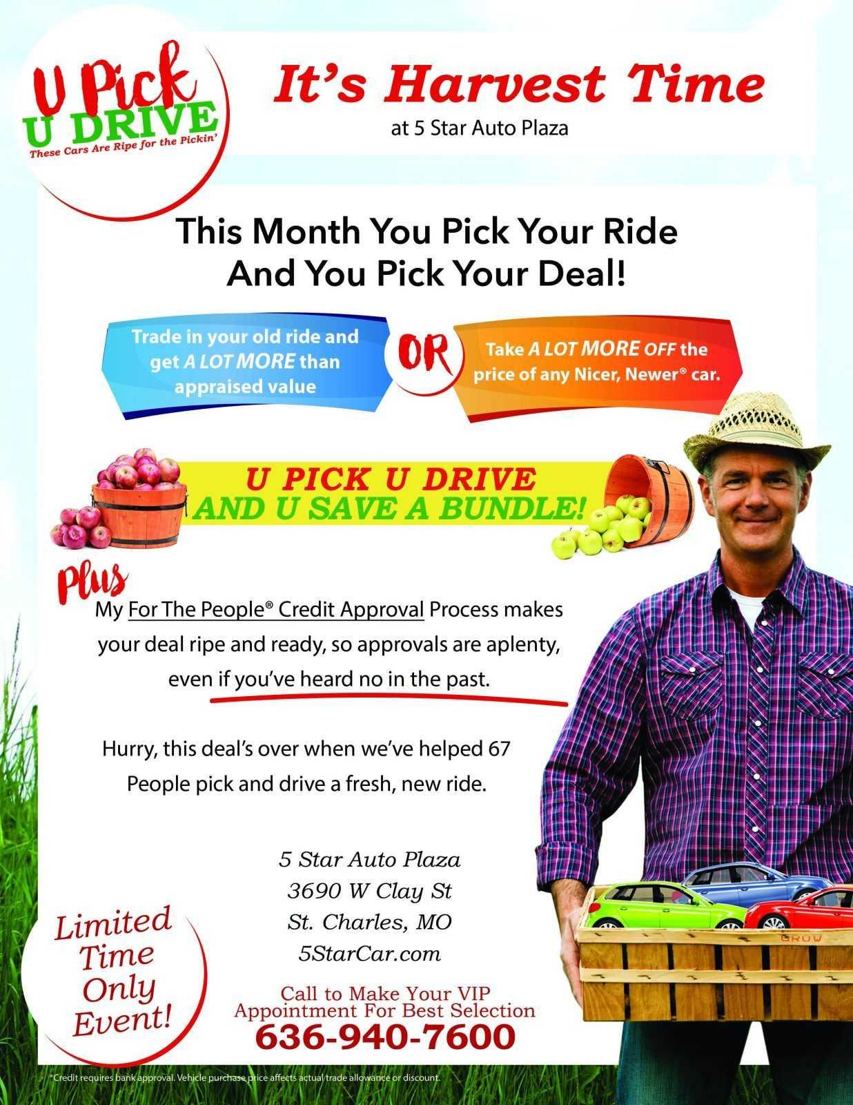 U Pick U Drive at 5 Star Auto Plaza!